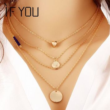 Classic Multilayer Link Chain Beads Body Necklace Alloy Gold Color Heart Tree Pendant Necklaces Fashion Jewelry For Women
