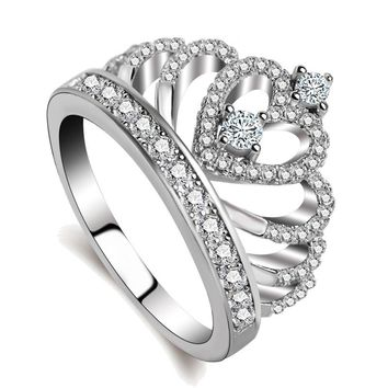 Fashion silver ring European and American new creative crown ring female high quality zircon gift ring for women