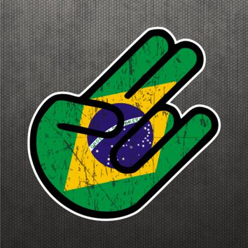 Shocker Brazilian Flag Sticker Vinyl Decal Brazil Car Truck Decal Fits Honda BMW