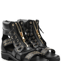 Balmain - Leather Ankle Boot Sandals