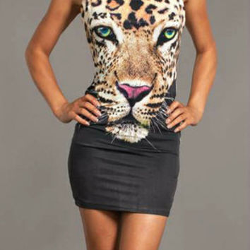 HOT SEXY ANIMAL LEOPARD FACE TATTOO OPEN BACK HALTER PARTY CLUB MINI DRESS