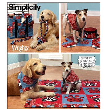 DOG ACCESSORIES PATTERN Dog Blanket, Bowl, Placemat, Tote Bag, Dog Scarf Bandana Toys Simplicity 4061 UNCuT Pet Dog Craft Sewing Pattern