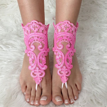 Pink lace barefoot sandals, FREE SHIP, beach wedding barefoot sandals, belly dance, lace shoes, bridesmaid gift, beach shoes