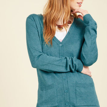 Have a Good Knit Cardigan in Ocean | Mod Retro Vintage Sweaters | ModCloth.com