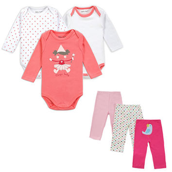Mother Nest Brand 6 PCS Set Baby Girl Clothing Set Long Sleeves Baby Wear Spring Autumn Casual 100% Cotton Set Romper+Trousers