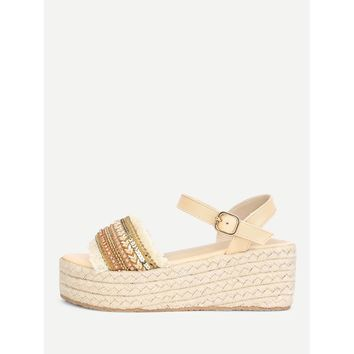 Raw Trim Wedge Sandals With Jewelry