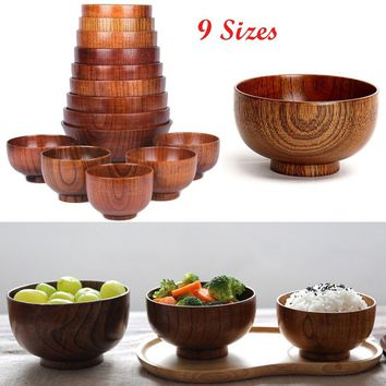 Natural Durable Chic Jujube Wooden Bowl Baby Feeding Containers Kids Lunch Box Anti-Shock Kitchen Utensils Dishes