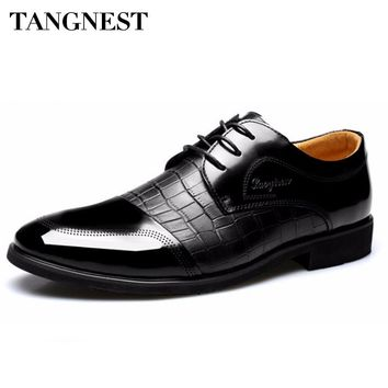 Tangnest Men Dress Shoes 2018 New Men Wedding Party Shoes Casual Round Toe Lace Up Flats For Men Oxfords Black Brown XMP712