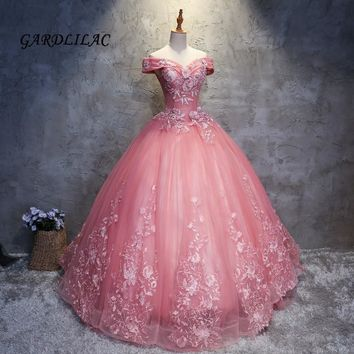 20730ed7b15 2018 New Cameo Brown Quinceanera Dresses Tulle With Lace Appliques  Masquerade Ball Gown Sweet 16 Dress