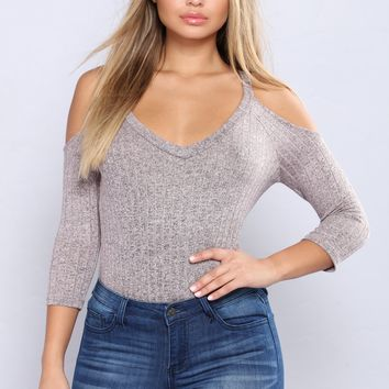 So Sprung Ribbed Top - Dusty Mauve