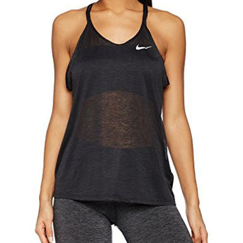 Women's Nike Dri-FIT Cool Strappy Running Tank Black/Reflective Silver Size Medium