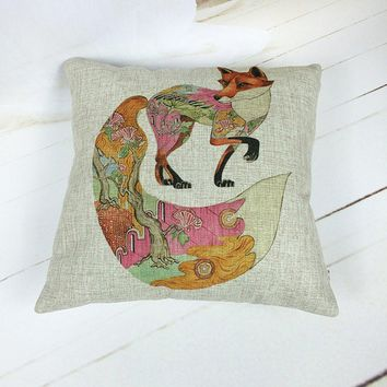 Forest Fox Throw Pillow