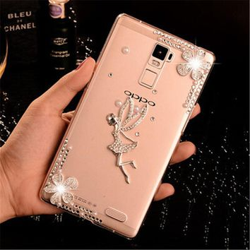 Luxury 3D Angel Rose bling Crystal diamond Mobile phone Shell Back Cover Skin Hard Case For Oppo R7 Plus