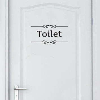Free shipping Vintage Wall Sticker Bathroom Decor Toilet Door Vinyl Decal Transfer Vintage Decoration Quote Wall Art