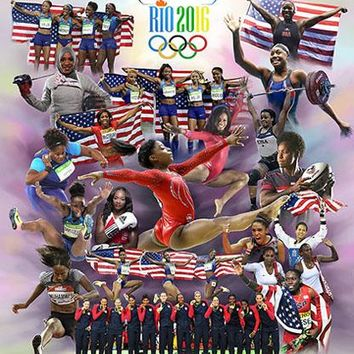Sisters in Motion II: Olympic Soul (Rio 2016) Wishum Gregory Art Print