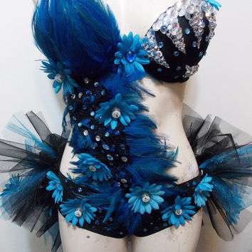 Stitch Inspired Blue Rave Bra Custom Event Outfit, Rhinestone Clusters, Bustle Tutu W/Led lights