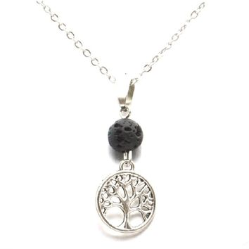 Black Lava Stone Aroma Essential Oil Diffuser Necklace