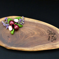 Personalized Cutting Board - Walnut Disc - Live Edge Cutting Board 18 X 7 - Rustic Wedding, Charcuterie, Cheese Board