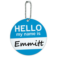 Emmitt Hello My Name Is Round ID Card Luggage Tag