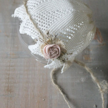 Newborn Vintage Doily Bonnet. Shabby Chic, Baby Girl, Vintage Inspired, Photo Prop
