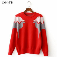 Winter Autumn Alpaca Patterns Sweater Pullovers O-neck Long Sleeve Knitwear Stylish Casual Slim Knitted Women's Sweaters Tops