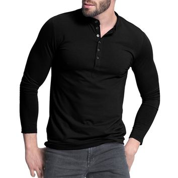 Men's Casual Slim Fit Button Up Long-Sleeve T-Shirt