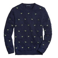Boys' Whale Embroidered Cable Knit Sweater