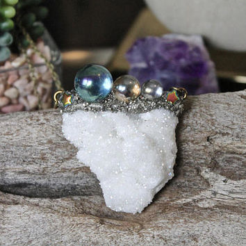 Aura Quartz Necklace, Druzy Necklace, Angel Aura Crystal Necklace, Bohemian Jewelry, Star & Celestial Jewelry, Hippie Jewelry, Boho Style