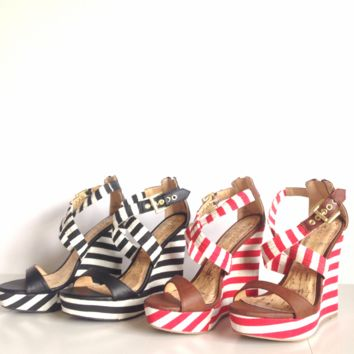 Stripe Nautical Wedge Sandals