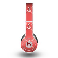 The Coral & White Vintage Solid Color Anchor Linked copy Skin for the Beats by Dre Original Solo-Solo HD Headphones