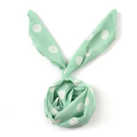 Mint Green Vintage Retro Polka Dot Bun Wire Chiffon Headband Twist Hairband Wraps Hair Band Bow Women Accessory Gift (HBS-38)