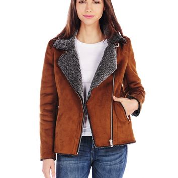 RD Style Faux Suede Moto Jacket with Faux Fur