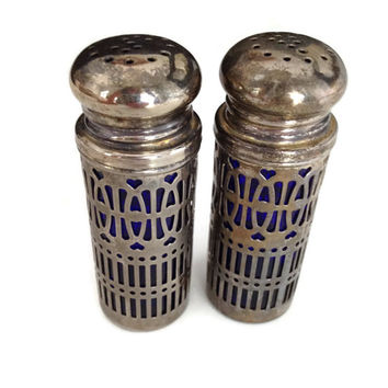 ON SALE Salt and Pepper Shaker Silver Plated Overlay Cobalt Blue Bottle Hong Kong UK Patent 1014132