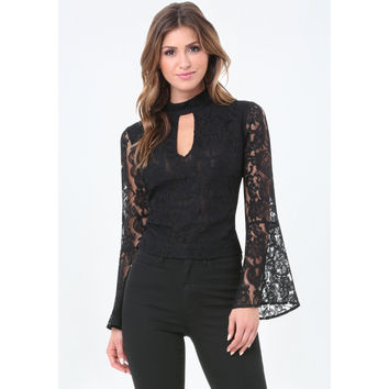 BELL SLEEVE KEYHOLE TOP