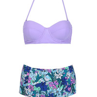 Purple Push Up Top Floral High Waist Bikini