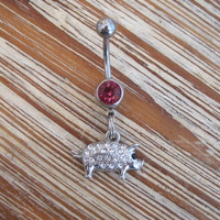 Belly Button Ring - Body Jewelry - Silver Rhinestone Pig with Pink Gem Stone Belly Button Ring