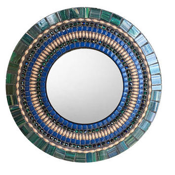 Green Blue Copper Round Mosaic Mirror, Accent Mirror, Wall Mirror