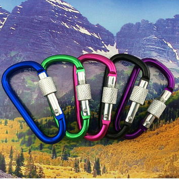 Outdoor mountaineering rock Camping D Shape Carabiner With Screw Lock D-Ring Clip Buckle Outdoor Survival kits