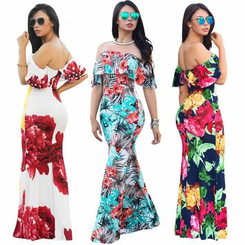 Women Boho Maxi Dress Summer Style Off Shoulder Ruffled Print Long Dresses Feminine Floor Length Beach Dress