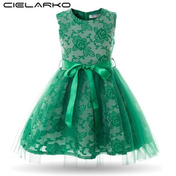 Cielarko Girl Dress Princess Mesh Baby Wedding Party Dresses Flower Kids Ball Gowns Lace Children Prom Baby Clothing for Girl