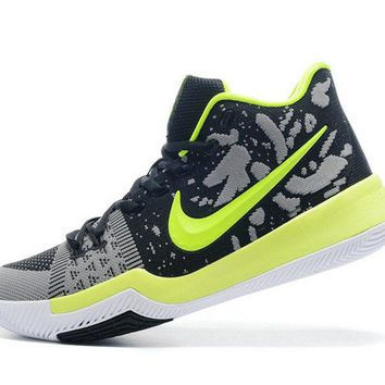 2018 Original Newest Nike Kyrie 3 Flyknit Black Grey Lime Green Volt Brand sneaker
