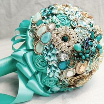 Brooch Bouquet - Tiffany Blue + Silver + Ivory - Custom Made Bouquet