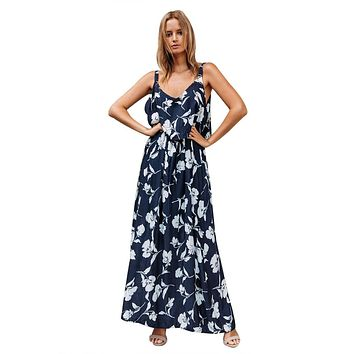 Chic Summer Boho Floral Maxi Dress in Navy