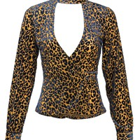 Stray Cat Leopard Velvet Burnout Longsleeve Top