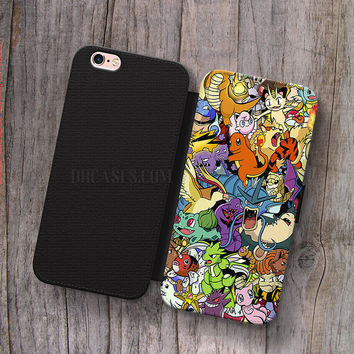 Wallet Leather Case for iPhone 4s 5s 5C SE 6S Plus Case, Samsung S3 S4 S5 S6 S7 Edge Note 3 4 5 Pokemon All character Cases