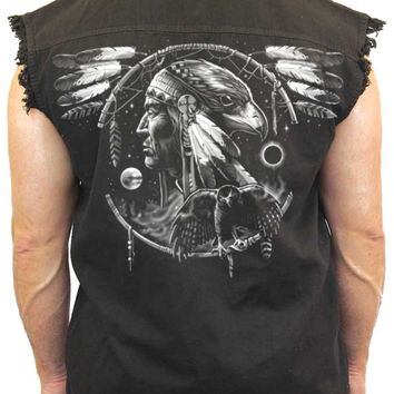 Men's Sleeveless Denim Shirt Dreamcatcher Native American Hawk Biker