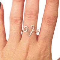 STERLING SILVER initial ring - wire wrapped initial ring - wire ring - wire wrapped ring