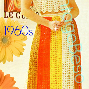 Sexy Halter CROCHET Pattern and Skirt Crochet Pattern both worked in the super fun Shell Stitch Vintage 1960s Vintage Beso Instant PDF