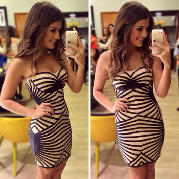 Black Linear Pattern Strapless Bandage Mini Dress