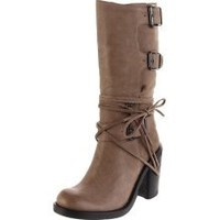 """Vince Camuto """"skylas"""" Taupe Leather Buckle Detail Steampunk Goth Boots 6.5b"""